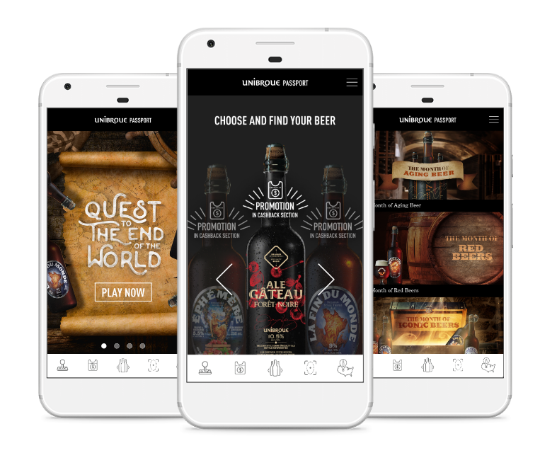 Three different views of the unibroue app.