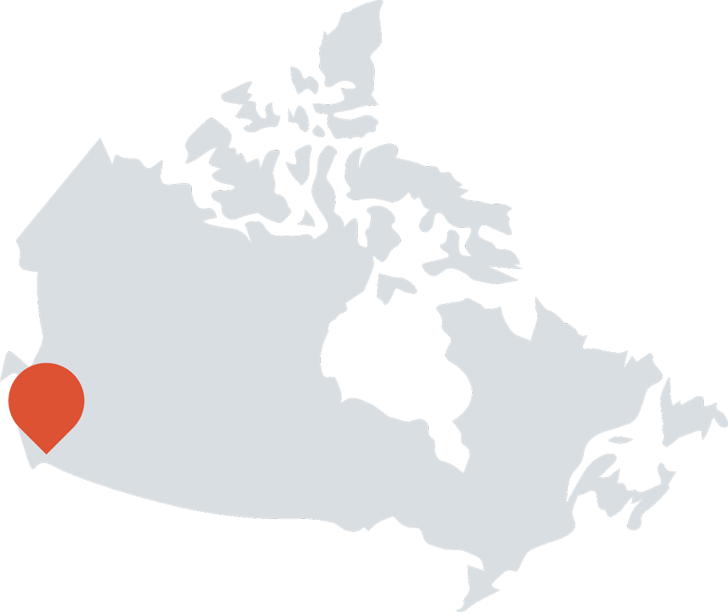 Map of Canada with a pin in Vancouver to show where many hats is based out of.